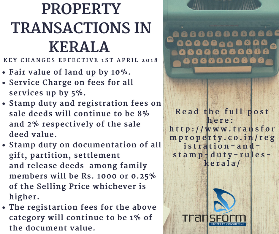 Registration and stamp duty in Kerala - Key changes effective Apr 1, 2018
